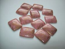Lot Of 12 Vintage 1950s Large Pink With Gold Scribble Design Glass Cabochon NOS