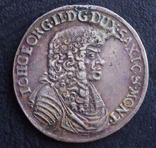 Rare 1676 Johan Georg Saxony-Albertine Silver 2/ 3 taler KM #549
