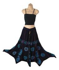 Boho Skirt Embroidered Batik Asymmetric Hem Hippie Mirror Onesize 10 12 14 16 18