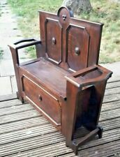 More details for antique solid oak arts & crafts style hall seat - stick stand delivery possible
