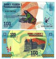 Banknote - 2017 Madagascar, 100 Ariary, P97 UNC, Frog (F) Cathedral (R)