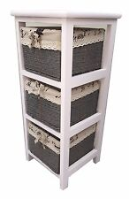 Slim White Wood 3 Drawer Maize Basket Storage Cabinet Organiser For Bathroom