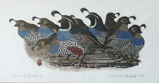 Beverly Hackett - California Woodblock Print – Covey of Quail