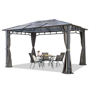 Hardtop Pavillon 3x4m Gartenpavillon ALU Luxus Gartenzelt Zelt Pergola Gazebo