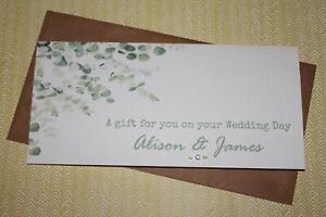 Handmade Personalised Eucalyptus Foliage Wedding Money Voucher Gift Card Wallet