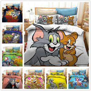 Neu Tom und Jerry 3D Bettwäsche Set Bettbezug Kissenbezug Single 2pcs 135*200cm
