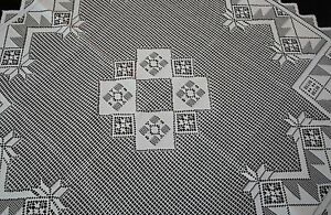 HERITAGE LACE WHITE PATCHWORK DESIGN TABLE TOPPER 40X40 NWOT ITEM A170
