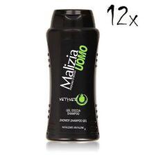 12x Malizia Uomo Vetyver  Italian Shower Gel & Shampoo 250ml