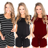 Women Summer Casual Solid Shorts Romper Jumpsuit Drawstring Waist Mini Playsuit