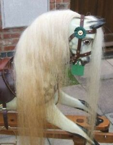 BEST Quality Rocking Horse Hair Mane,Tail & Forelock set ON HIDE -BLONDE S, M, L