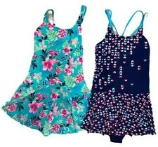 Land's End Lot of 2 Plus Sized One Piece Swimsuits SKirt Girls Size 16 + EUC
