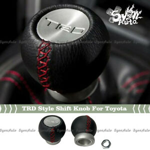 ALUMINUM TRD STYLE SHIFT KNOB W/ LEATHER WRAP FOR ALL TOYOTA MANUAL MODELS
