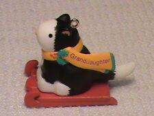 1996 Hallmark Ornament Granddaughter   Cute Black/White Cat on Sled