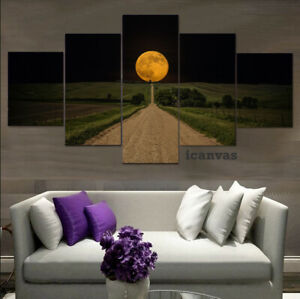 Gigantic Moon Countryside Road 5 pcs HD Art Poster Wall Home Decor Canvas Print