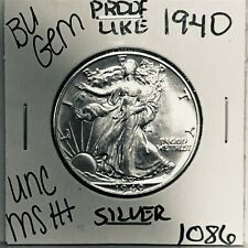 1940 BU GEM LIBERTY WALKING SILVER HALF UNC MS+++ U.S. MINT RARE COIN 1086