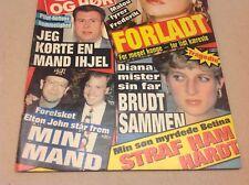 """Elton John Hugh Williams Princess Diana Vtg Danish Magazine 1992 """"Se og Hoer"""""""