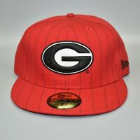 Georgia Bulldogs NCAA New Era 59FIFTY Pinstripe Fitted Cap Hat - Size: 7 1/2
