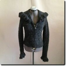 bebe Gray Fuzzy Textured Zip Cardigan Sweater with Fringed Hood and Cuffs S