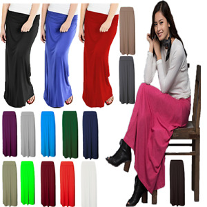 New Women's Ladies Long Maxi Skirt Pleated Fold Over Waist Jersey Gypsy  UK 8-26