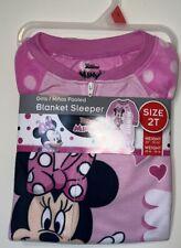 Girls Blanket Sleeper Footed Fleece Minnie Mouse Disney 2T New