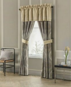 Waterford MARCELLO Tailored Lined VALANCE Damask GOLD NATURAL MSRP $70 NWT