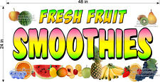 2' X 4' VINYL BANNER FRESH FRUIT SMOOTHIES FULL COLOR GRAPHICS  NEW!