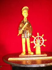 Vintage Nautical Hand Made Wooden Sea Captain Statue