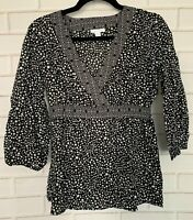 Charter Club Women's Size 6 Top 3/4 Sleeve Black White Tunic FAST SHIPPING!