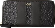 NWT COLE HAAN Large Leather Logo Wallet EMILY CONTINENTAL ZIP BLACK Silver  $148