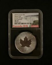 2018 $5 Canada 1 oz Silver Double Incuse Maple Leaf MS70 NGC 30th Anniversary!
