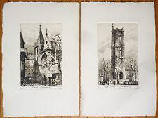 2 gravures anciennes de Charles PINET (1867-1932) St Severin Tour St Jacques