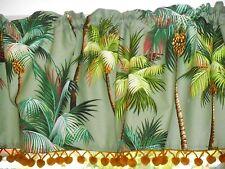 Hawaiian Tropical Cotton Barkcloth Fabric VALANCE /Vintage Poms ~Palm Trees-Aloe