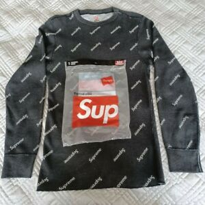 SUPREME X HANES BLACK WAFFLE THERMAL LONG SLEEVE TOP SIZE S
