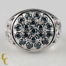 10 Quilates Oro Blanco Diamante Azul Placa ANILLO SIZE 9.5 - Gran Regalo