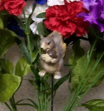 "Garden Decor Flower Pot Plant Pick Stake Squirrell New 15"" tall"