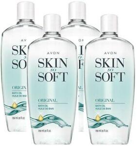 4x Avon SKIN SO SOFT Original + Jojoba Fresh Scented BATH OIL Moisturizer 25 oz