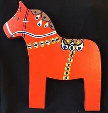"""Red Swedish Dala Horse - Folk Art Painting - 11"""" long x 12"""" tall"""