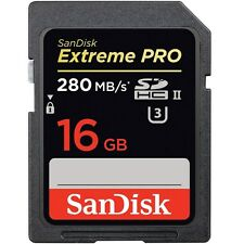 SanDisk 16GB 1867x Extreme Pro SD SDHC UHS-II U3 Class 10 280MB/s 4K Memory Card