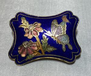 Vintage Cloisonne Enamel Bolo Tie Pendant Slide Scalloped Blue Floral Butterfly