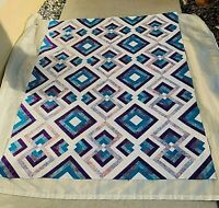 """Unfinished Quilt Top Batik  49"""" x 64"""" Purple, Blue , Lilac on white on white"""