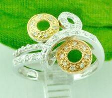 0.26ct 14k 3 tone Tri gold Natural Diamond Ring Circle Rose Yellow White Gold