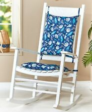 Two Piece Seashells Rocker Rocking Chair Cushions Seat & Back Pads Set w/ Ties