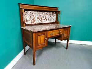 An Antique Edwardian Flame Mahogany Marble Washstand Cabinet ~Delivery Available