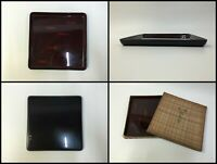 Japanese Wooden Obon Tray Vintage Plate Wajima Lacquer Ware Brown Square F171