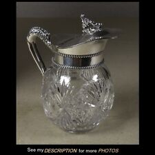 Antique ABP Cut Glass & Sterling SYRUP PITCHER American Brilliant Period cut dot