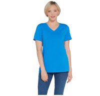 Linea Leisure by Louis Dell'Olio V Neck Stretch Tee Sapphire Color Size M