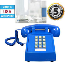 RETRO BLUE PUSH BUTTON DESK TELEPHONE VINTAGE STYLE CORDED PHONE - NEW