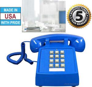 RETRO BLUE PUSH BUTTON DESK TELEPHONE VINTAGE STYLE CORDED PHONE - NEW