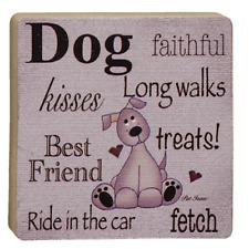 Faithful Dog Wood Block Sign Distressed Country Prim NWT 4 x 4 Dog Lover Gift