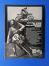 Vintage 1981 Champion Spark Plug Suzuki Steve Wise Full Page Ad